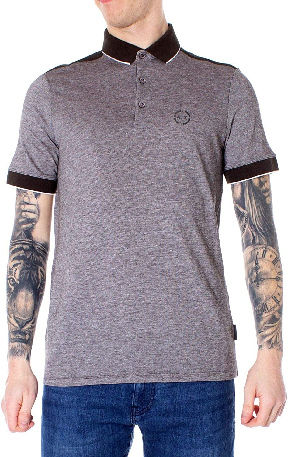 Armani Exchange Luxury Fashion Hombre 8NZF76Z8M5ZGREY Gris Polo ...