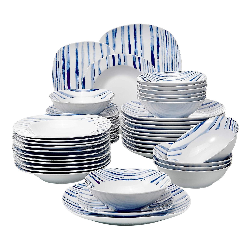 6 Platos 6 Platos de Postre y 6 Platos Hondos para 6 Personas VEWEET Gloria Juegos de Vajillas 24 Piezas de Porcelana con 6 Cuencos de Cereales
