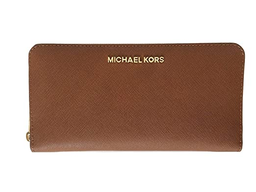 4befc6cebf988f Michael Kors Jet Set Travel Zip Around Saffiano Leather Travel Wallet  (Luggage) at Amazon Women's Clothing store: