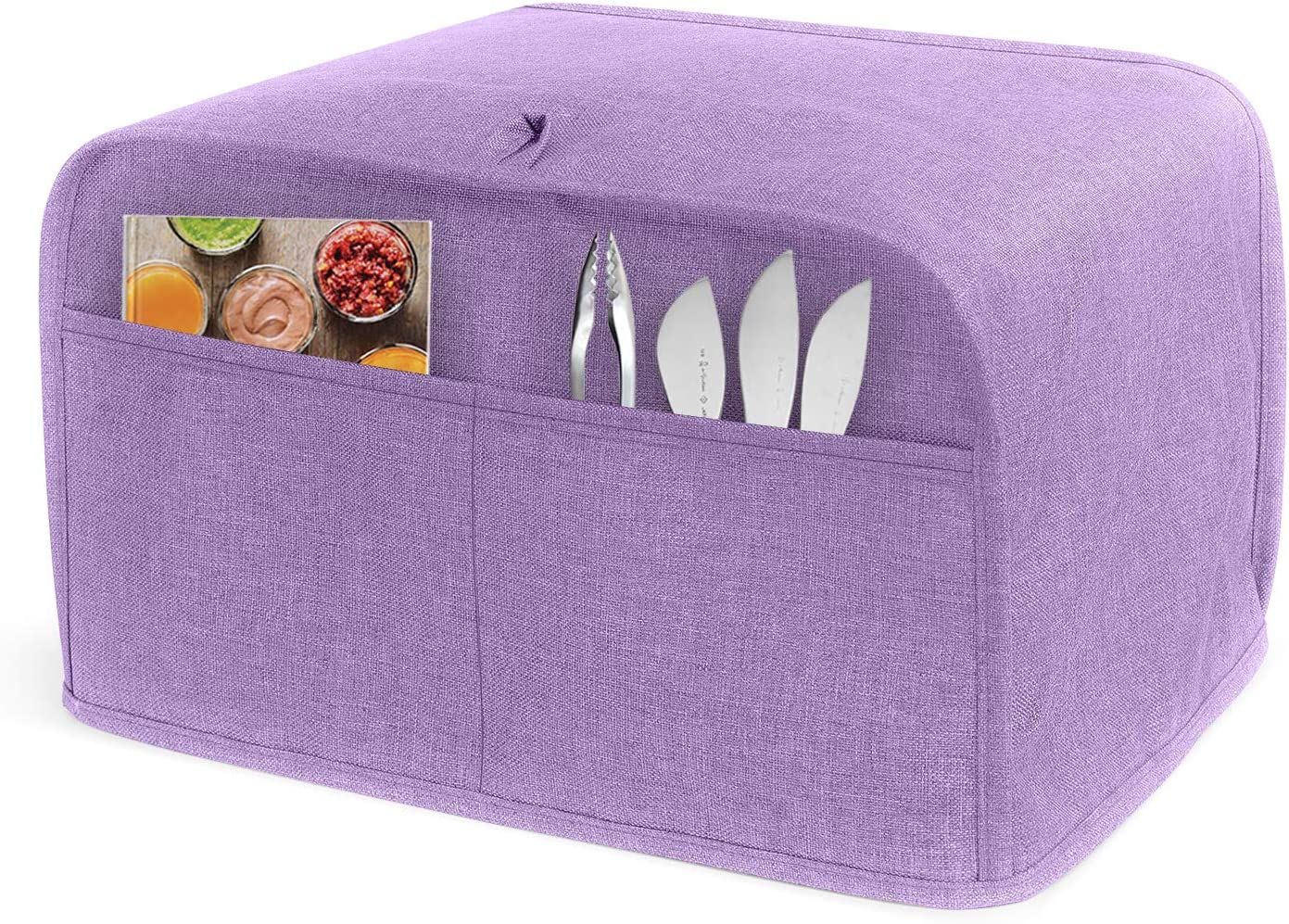 LUXJA 4 Slice Toaster Cover (12.5 x 10 x 8 inches), Toaster Cover with 2 Pockets (Fits for Most Major 4 Slice Toasters), Lavender