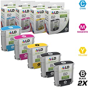LD Remanufactured Ink Cartridge Replacement for HP 82 (2 Black, 1 Cyan, 1 Magenta, 1 Yellow, 5-Pack)