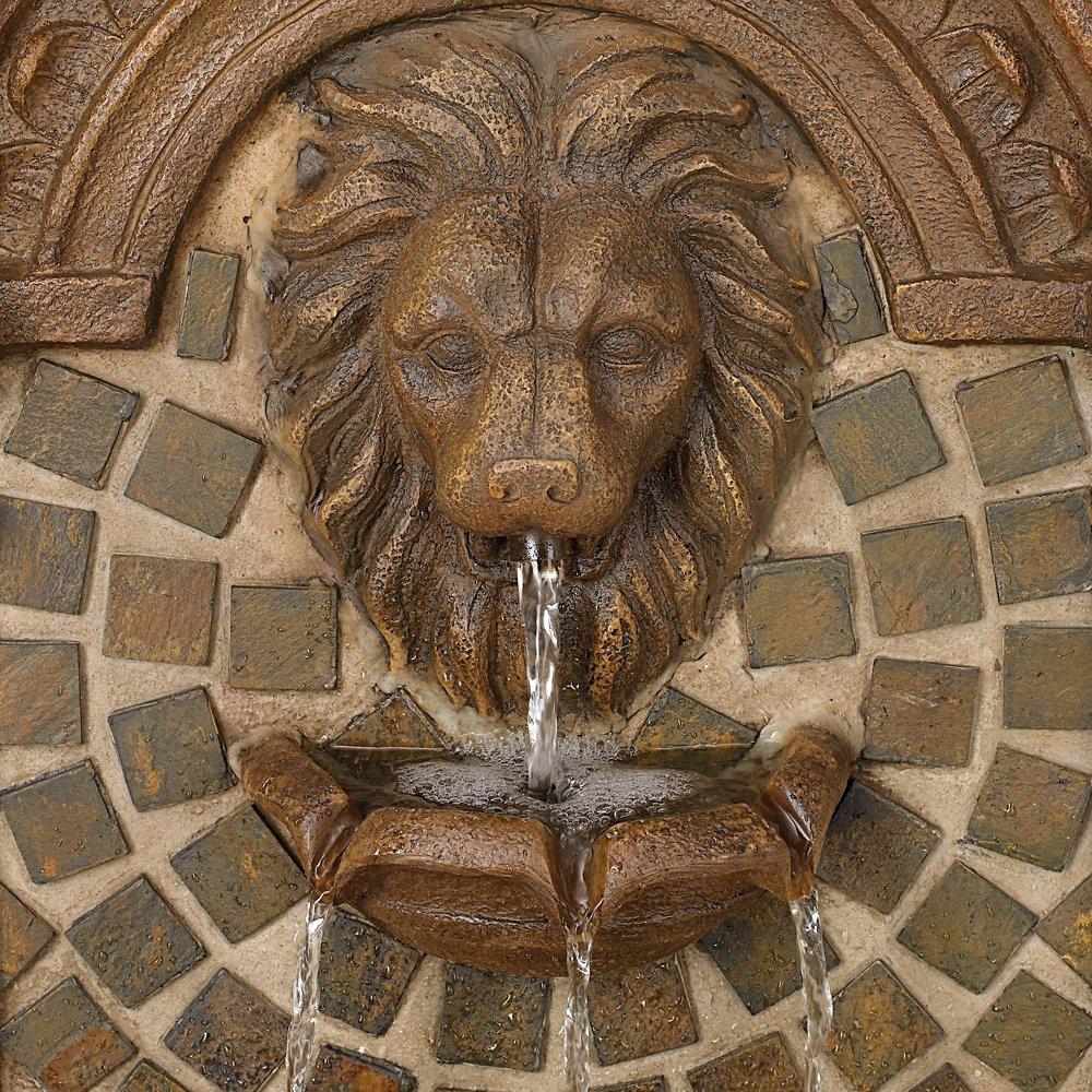 """Royal Lions-Head 51"""" High LED Floor Fountain"""