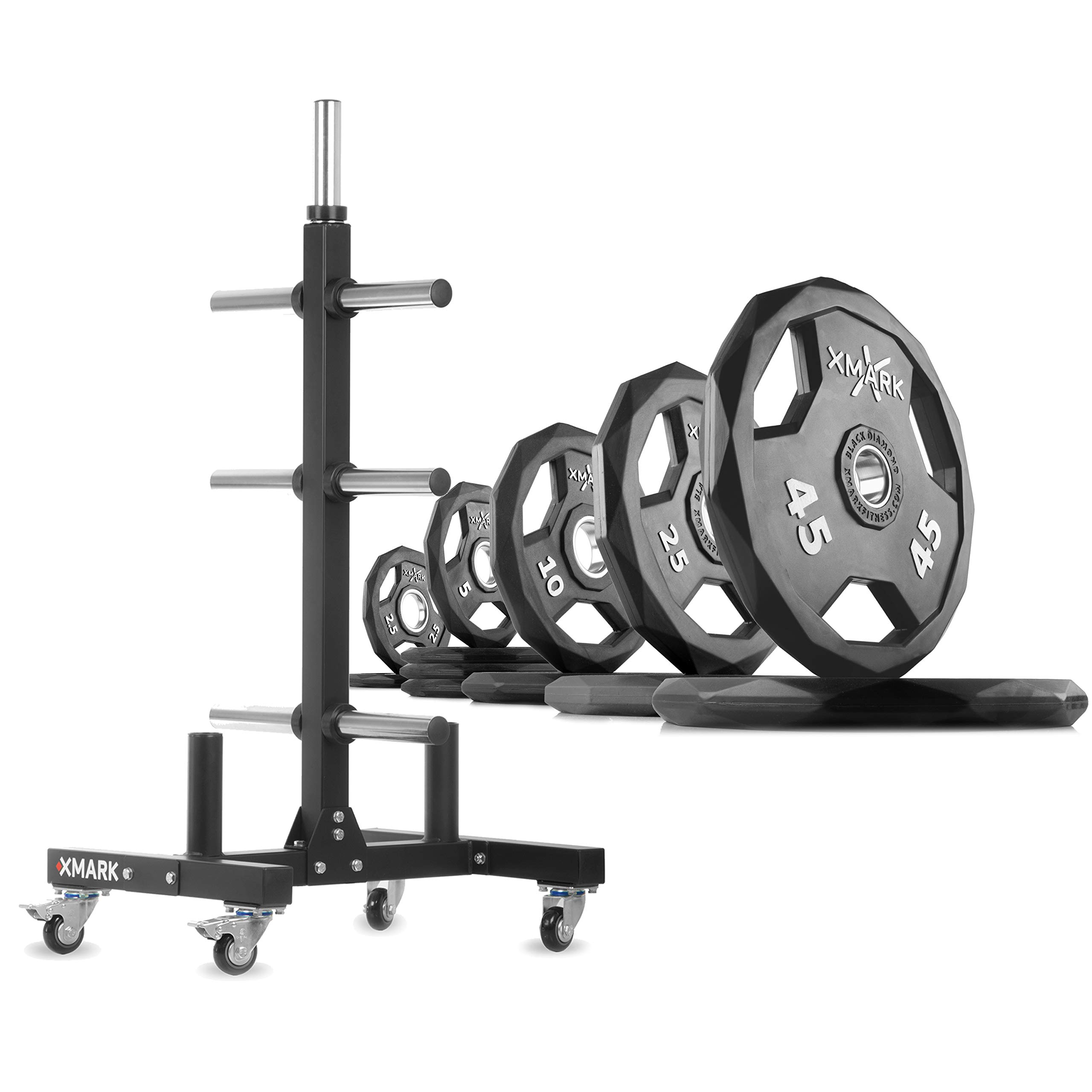 XMark XM-9055 Commerical Olympic Weight Tree Plus a 185 lb Set of Black Diamond Olympic Plates by XMark