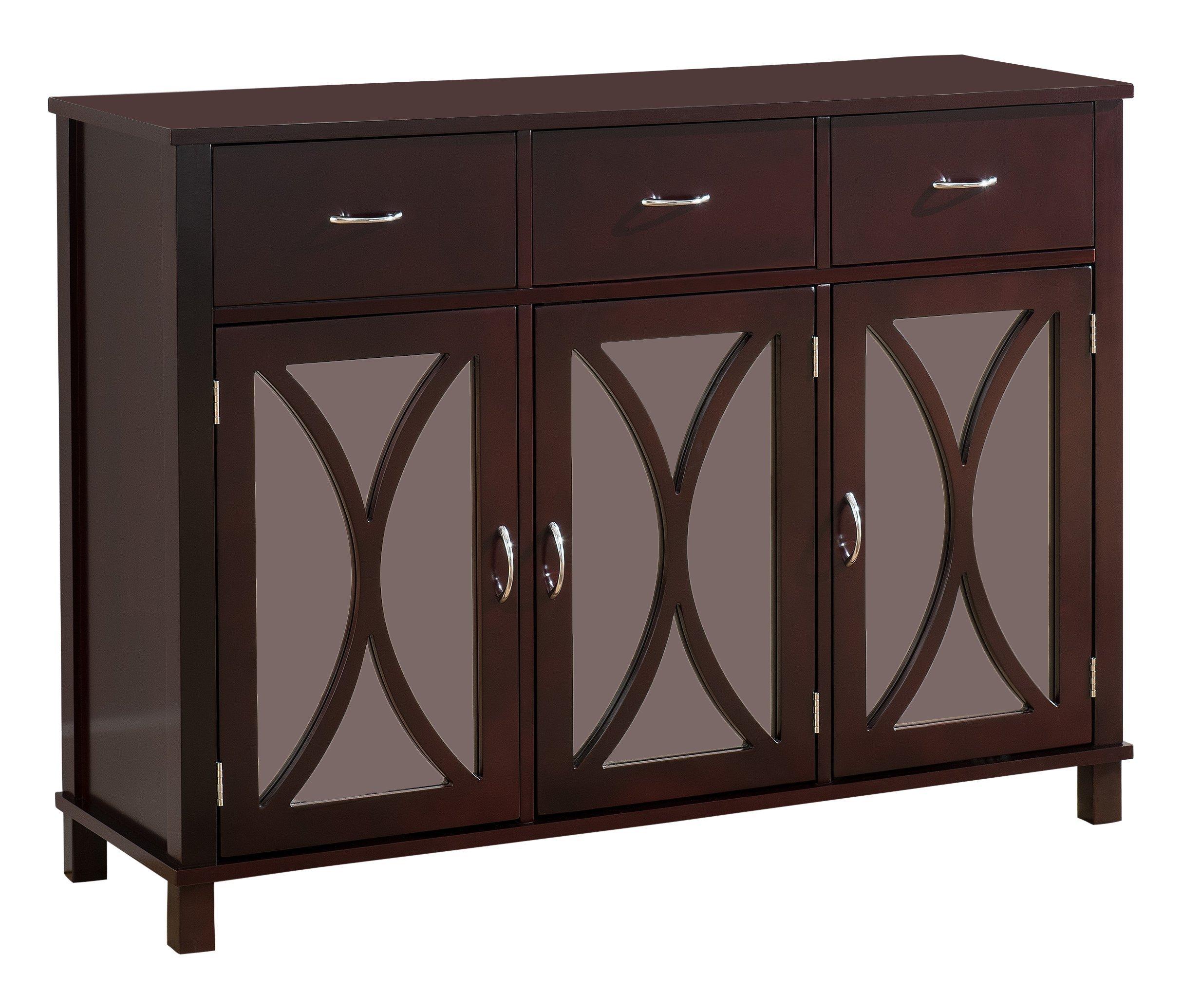 Kings Brand Rutheron Buffet Server Cabinet/Console Table, Mirrored Doors, Espresso by Kings Brand Furniture (Image #3)