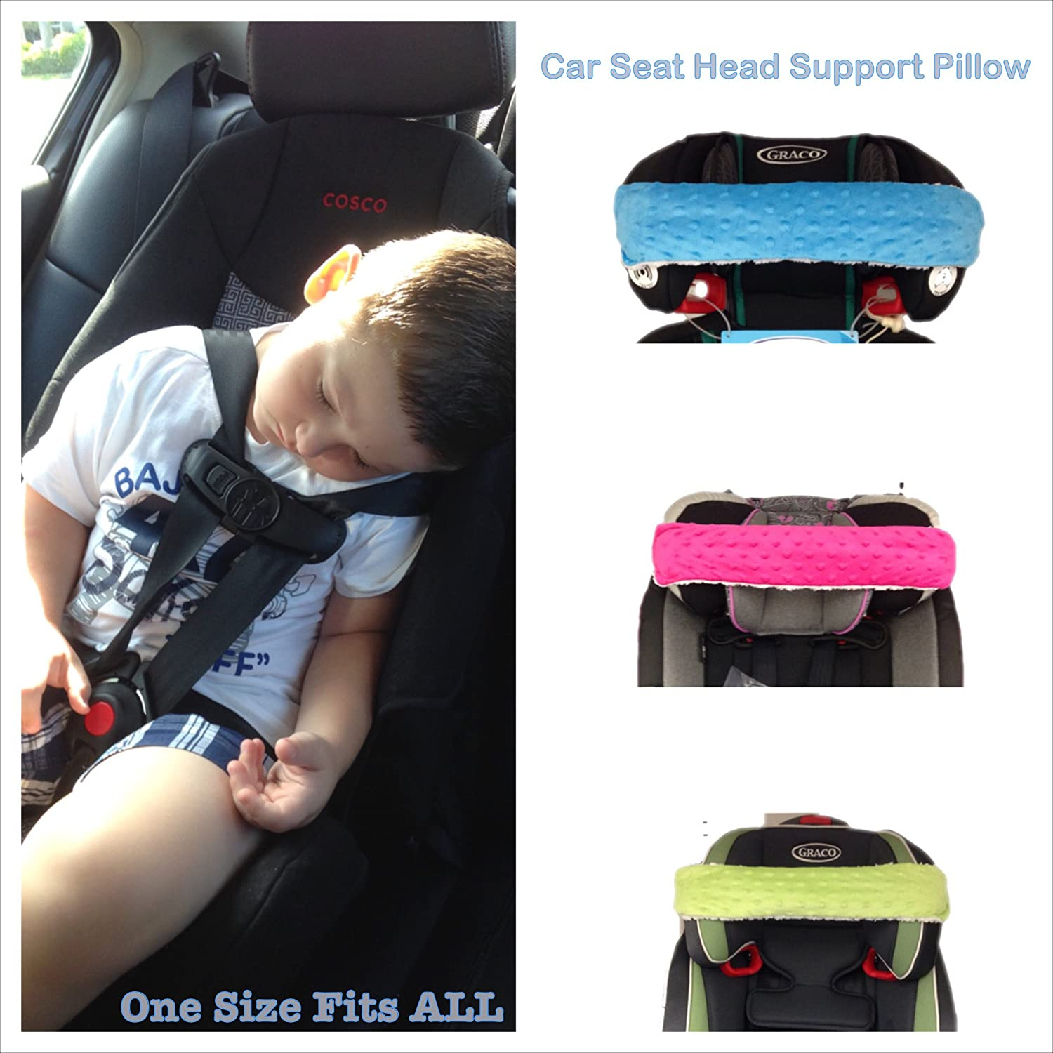 Nonods Car Seat Head Support Pillow Works Awesome! (Blue/white)