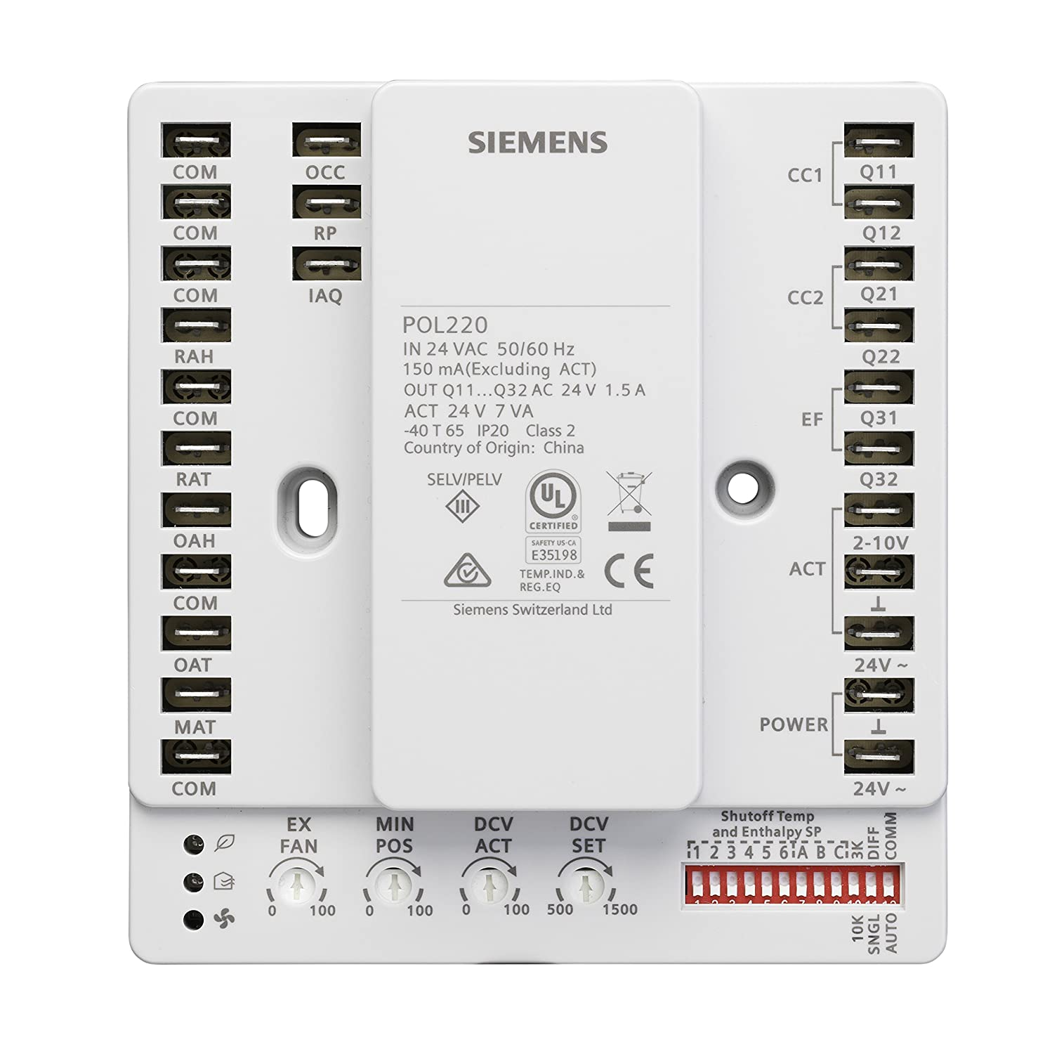 """Siemens POL220.05 Economizer Controller with 0-10 Volt Direct Current Signal for Remote Potentiometer /""""Free Using Unconditioned Outside Air to Cool a Building"""