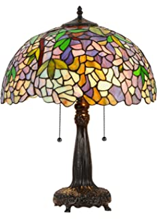 colored glass lighting. Chloe Lighting CH33373WP16-TL2 Tiffany-Style Wisteria 2 Light Table Lamp 16-Inch Colored Glass I