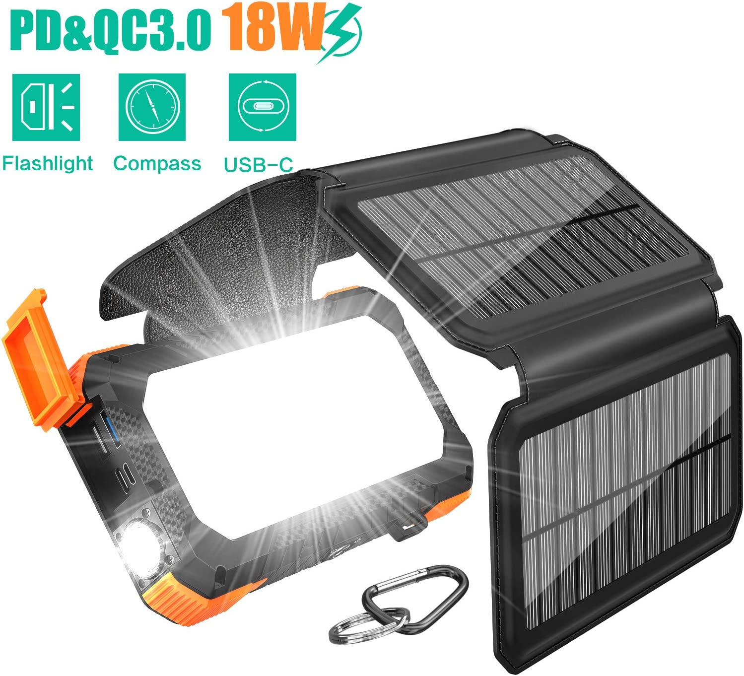 BLAVOR Solar Charger with Foldable Panels, Outdoor Power Bank 18W Fast Charging, 20,000mAh Solar Powered Charger with Camping Light/Flashlight/Compass Type C USB Charger 3 Outputs/Dual Inputs(Orange): Home Audio & Theater