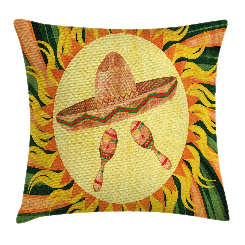 Mexicanスロー枕クッションカバーby Ambesonne、エスニックsombreno帽子とMaracas in the centre of Sun図ヒッピースタイルBohoホーム、装飾正方形アクセント枕ケース、マルチカラー 18