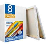 FIXSMITH Stretched White Blank Canvas- 11x14 Inch,Bulk Pack of 8,Primed,100% Cotton,5/8 Inch Profile of Super Value Pack…