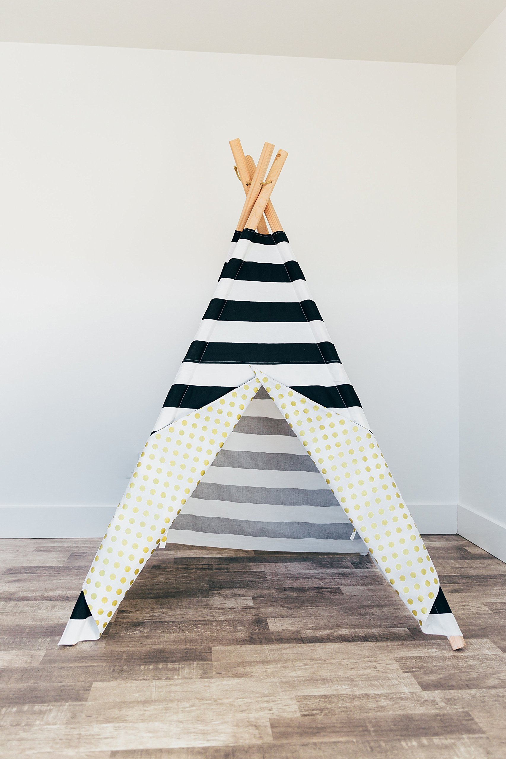 Custom Large Black and White stripe teepee with metallic gold polka dots