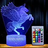 Night Light 3D Unicorn Lamp 16 Colors Changing LED Desk Table Nightlight with Remote Control Optical Illusion Kids Girls…