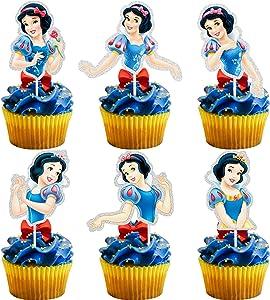 LYNHEVA Glitter Snow White Inspired Cupcake Topper, Snow White Theme Birthday Party Suppliers, Disney Princess Snow White Cake Decoration, Girls Princess Party Favor