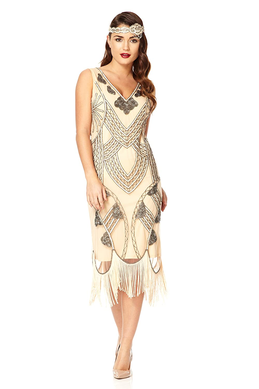 1920s Plus Size Flapper Dresses, Gatsby Dresses, Flapper Costumes Juliet Vintage Inspired Fringe Dress in Nude Blush $115.70 AT vintagedancer.com
