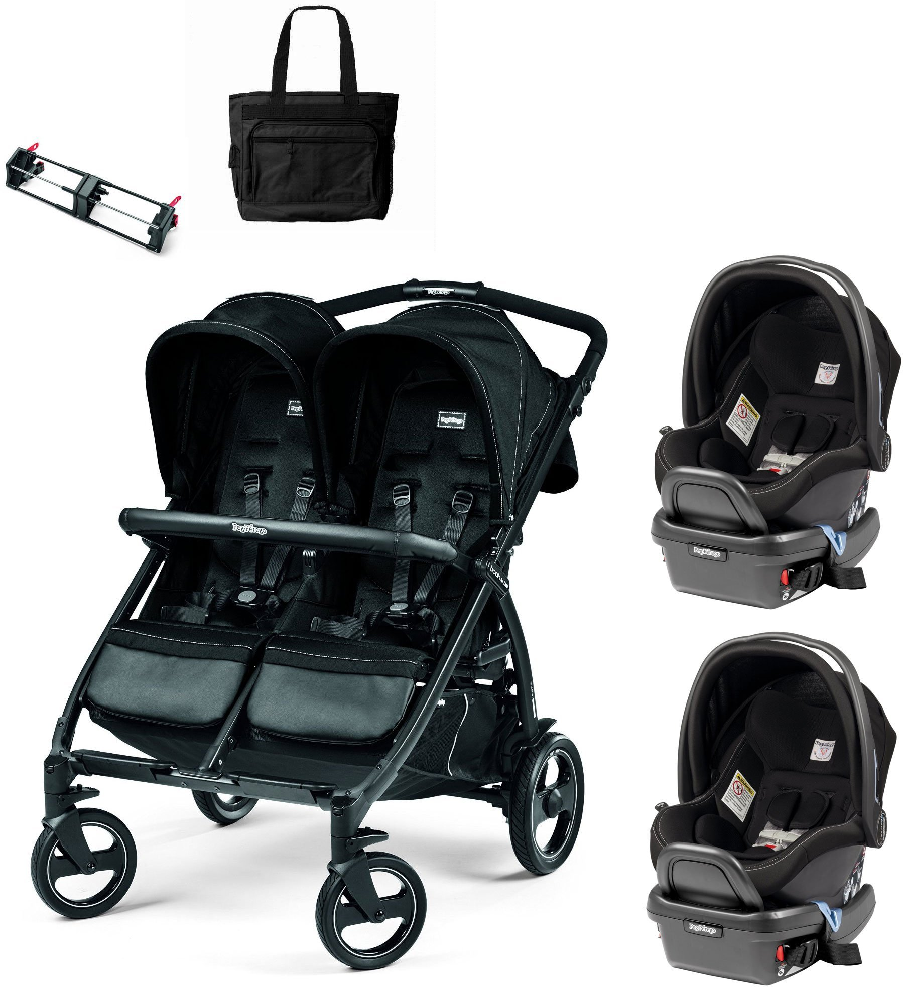 Peg Perego - Book for Two Onyx Double Stroller Twin Travel System with Diaper Bag