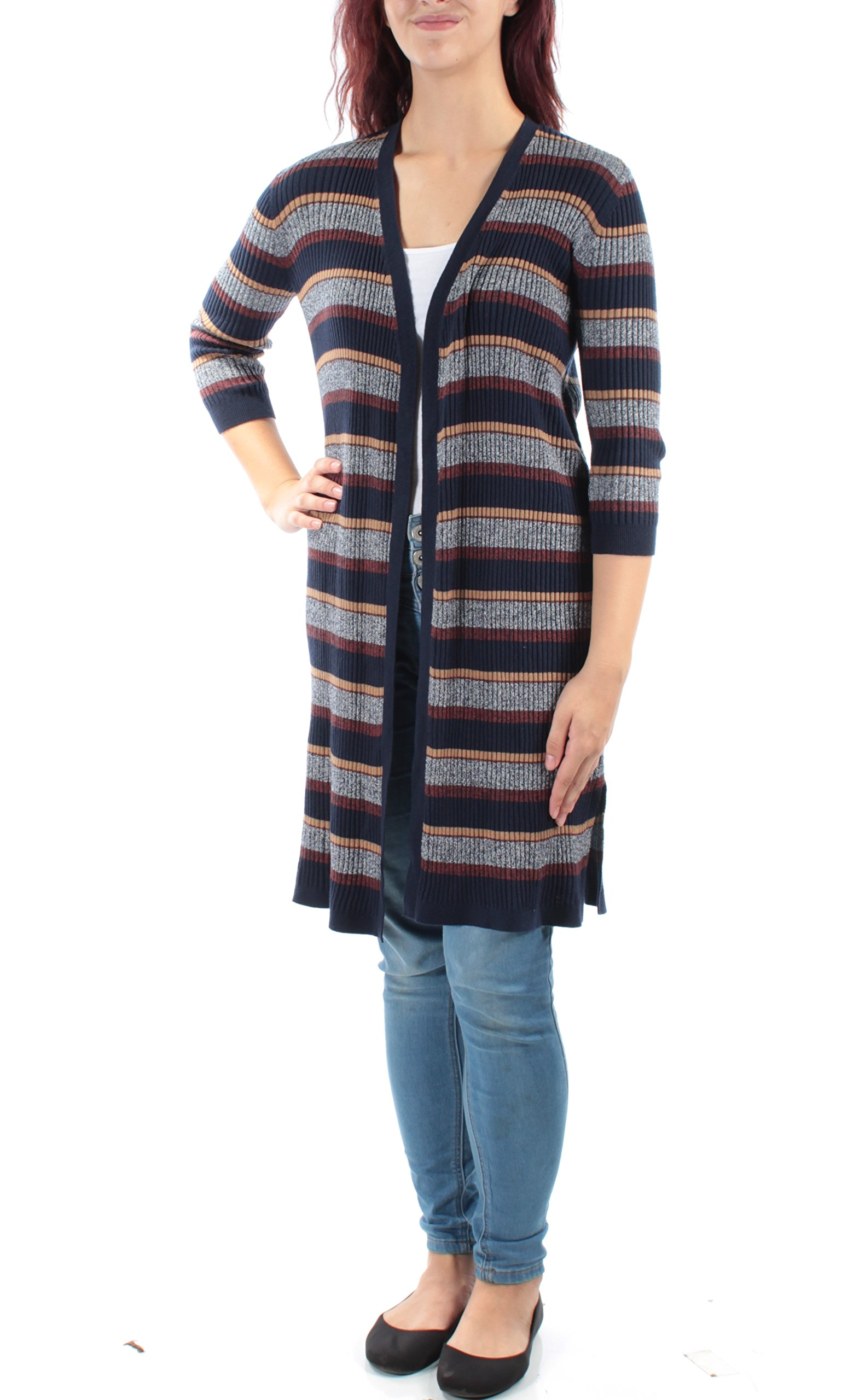 Style & Co. Womens Striped Duster Cardigan Sweater Blue PM
