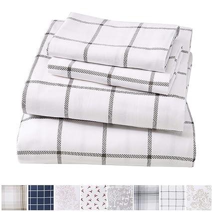 Extra Soft Windowpane 100% Turkish Cotton Flannel Sheet Set. Warm, Cozy,  Lightweight