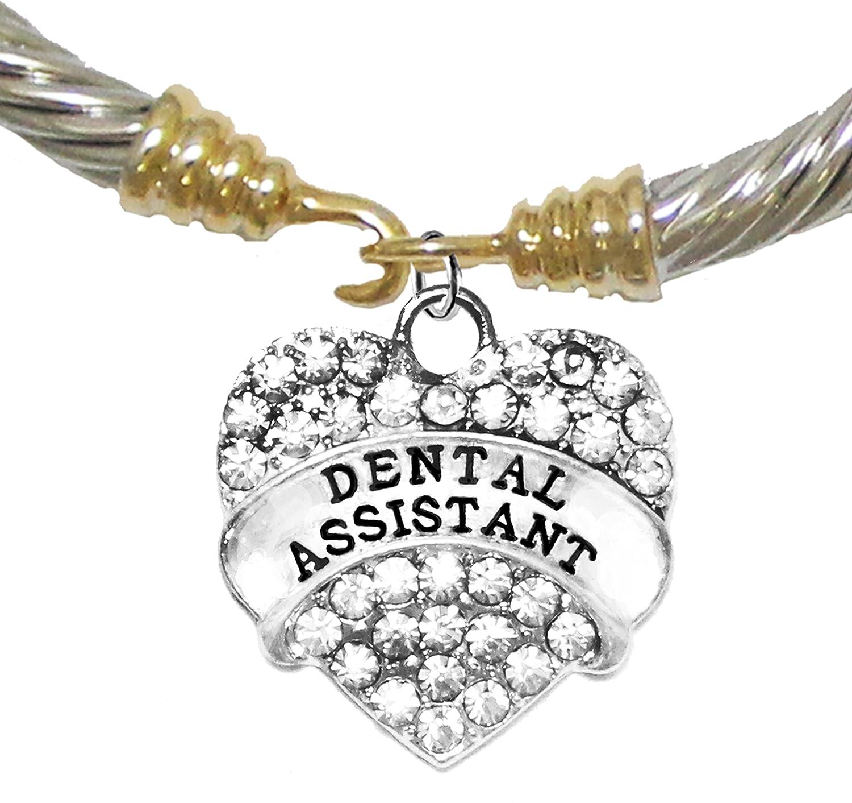 Safe-No Nickel Dental Assistant No Lead /& No Poisonous Cadmium Crystal Heart Two Tone Bracelet