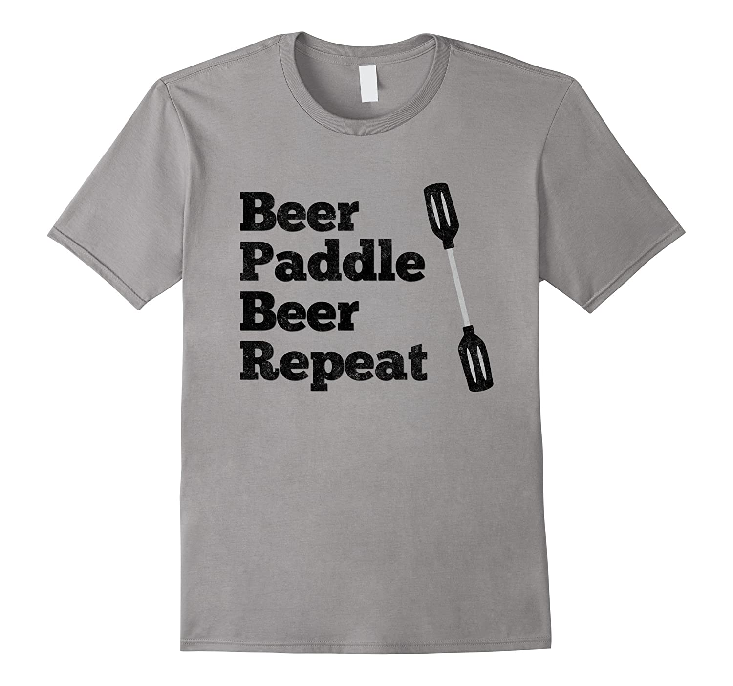 Beer Paddle Beer Repeat Kayak Rafting Distressed T-Shirt-TH