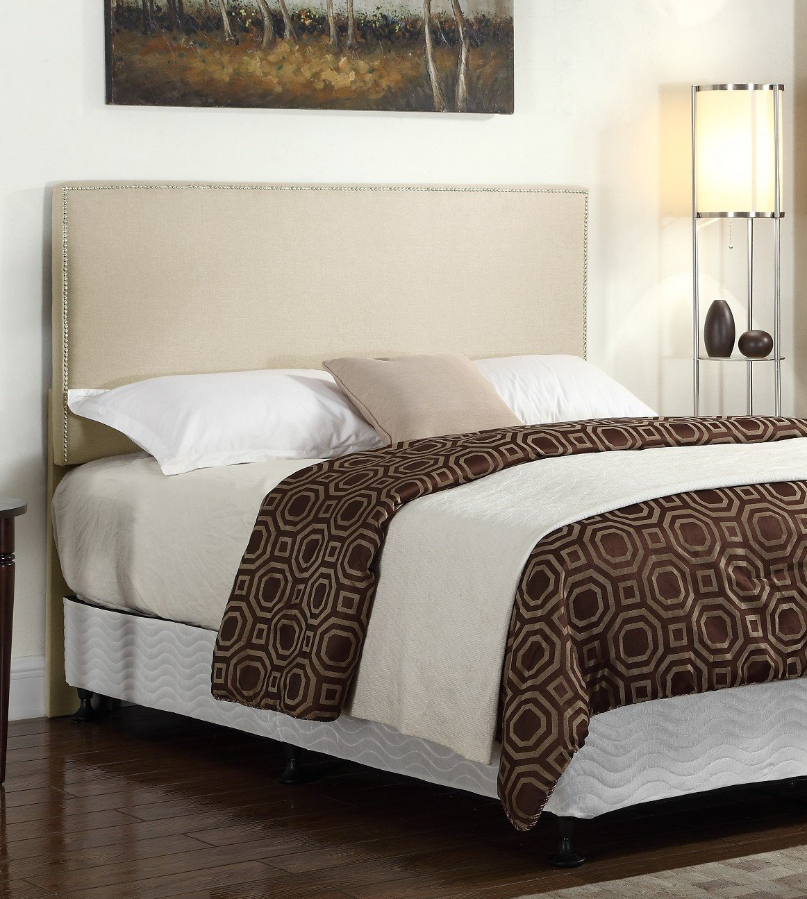 Container Furniture Direct Doak Collection Modern Linen Fabric Upholstered Bedroom Headboard with Nailhead Trim, Beige