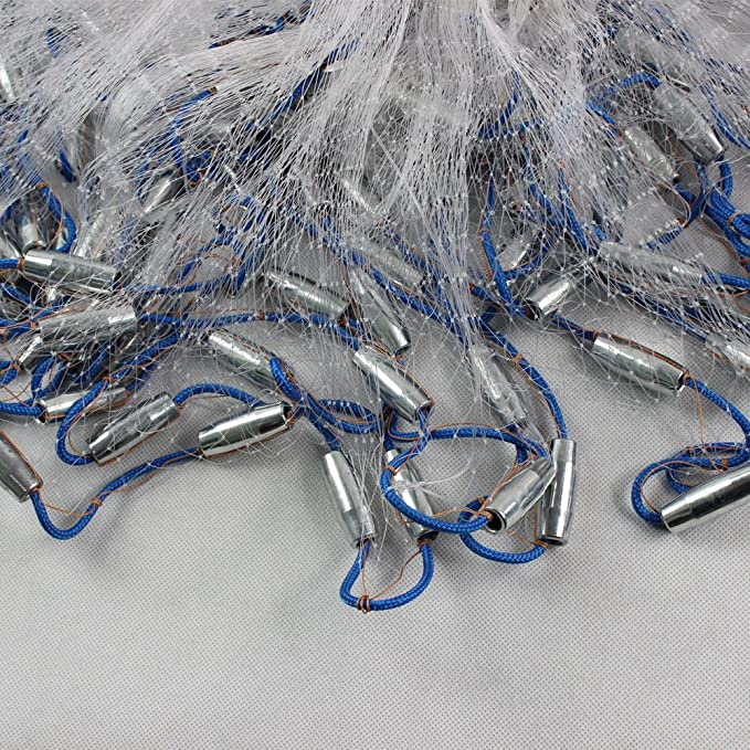 10-22FT Hand Throw Fishing Cast Net Spin Bait Sinker Small Mesh Equipment Hand Cast Netting Twine Easy Throw Fishing Net Spin Network Bait+Sinker