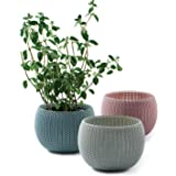 Keter NEW KNIT Style Planters Decor Pots 3 pcs