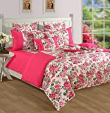 Swayam Printed Cotton Single Bedsheet with 1 Pillow Cover - Pink (SBS11-1428)