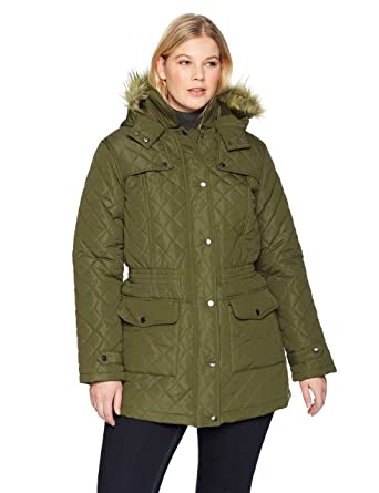 f959673c370 The Plus Project Women s Winter Warm Diamond Down Fur Hood Plus Size Long  Quilted Jacket Coat