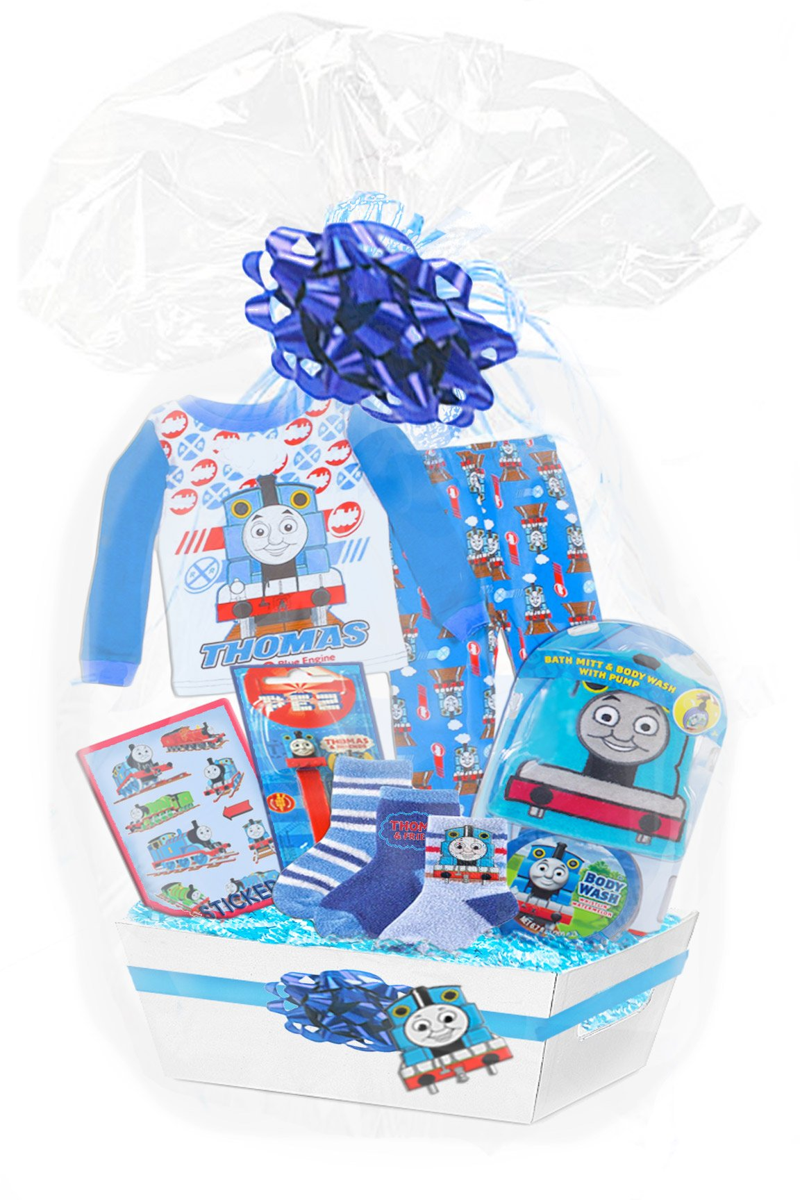 Baby Boutique Boy's ''Thomas The Train Ultimate 45 Piece Gift Basket,'' Featuring Thomas and Friends Pajamas, Bath Toy Set, Stickers, Socks, Pez Etc., Size: 24 month