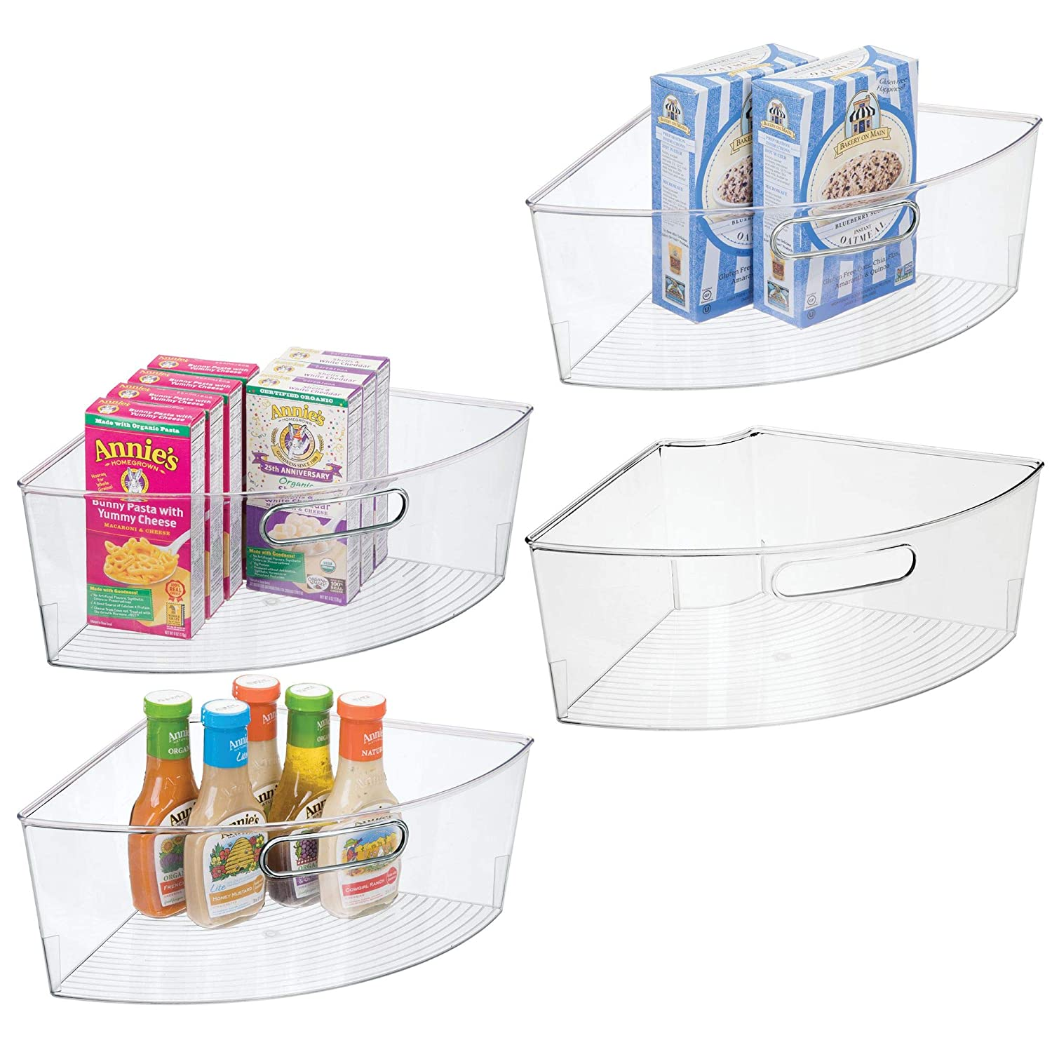 "mDesign Kitchen Cabinet Plastic Lazy Susan Storage Organizer Bins with Front Handle - Large Pie-Shaped 1/4 Wedge, 6"" Deep Container - Food Safe, BPA Free, 4 Pack - Clear"