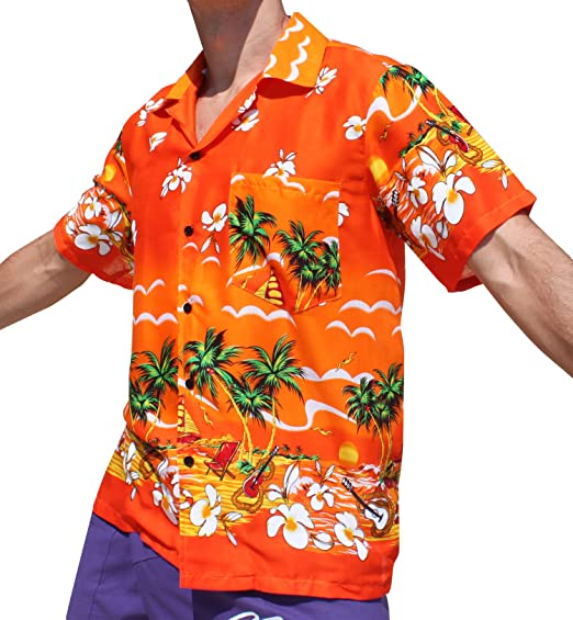 2a5244b5 Full Funk Hawaiian Shirt With Hibiscus Flowers Short Sleeve Light Rayon  Viscose, Large, Orange