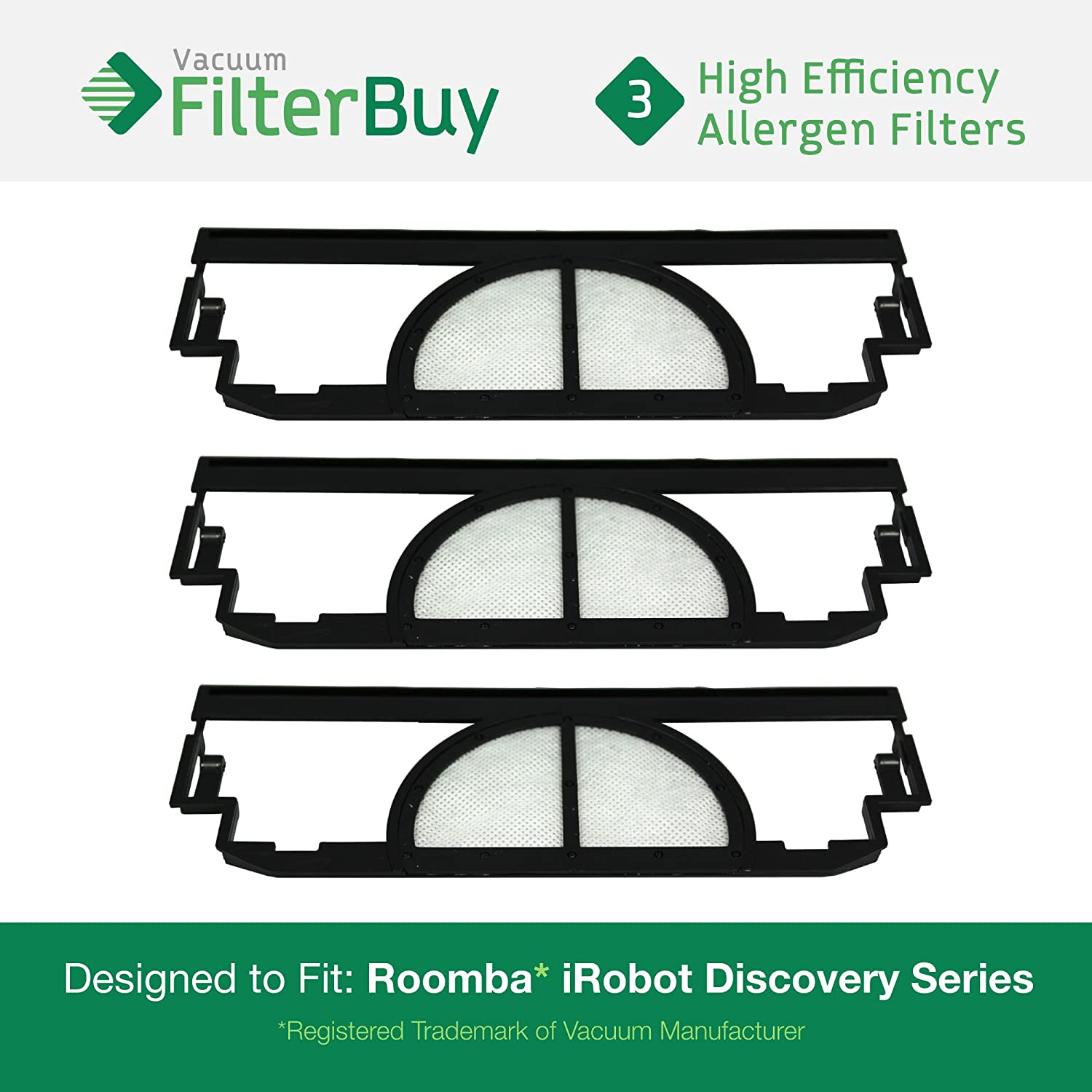 3 Pack iRobot Roomba Discoveryフィルタキット、パーツ# ' s 4910、vp-rm400 – 3 Flt、vprm4003flt。Designed by FilterBuy toフィットiRobot Roomba DiscoveryシリーズVacuum Cleaners B01MU2H0CT