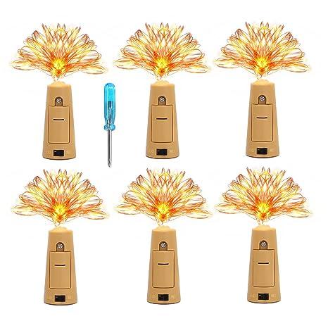 6 Piezas Guirnaldas Luces Impermeable Tapa KINGTOP Botella Luz de Corcho 20 LEDs 2m Cobre Alambre