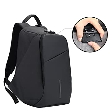 f31fa37a05c1 Amazon.com  BISON DENIM Mens Backpack 15.6 Inch Laptop Backpack Anti Theft  Combo Lock Travel Backpack Waterproof Bookbag with USB Port  Clothing