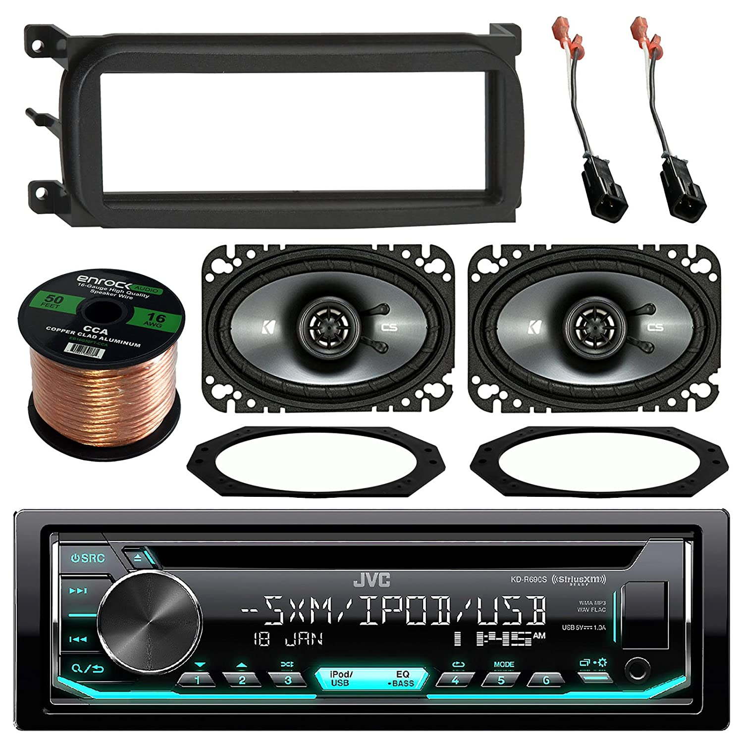 Jvc Kdr690s Cd Mp3 Wma Player Stereo Receiver Bundle Are 1990 And 1994 Jeep Wrangler Wiring Harnesses Connections Combo W Dash Kit 2x Kicker 4x6 Audio Speaker Adapter Plates 2 Pin Connectors For 1997 06