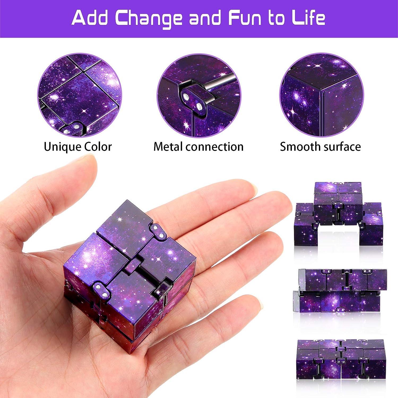 2 St/ücke Unendlichkeit W/ürfel Unendlich Zappelspielzeug Mini W/ürfel Puzzle W/ürfel Finger Zappelspielzeug f/ür Stress und Angst Linderung Entspannendes Spielzeug