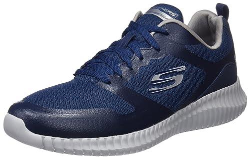 Skechers Elite Flex, Zapatillas Sin Cordones para Hombre, Azul (Navy/Orange), 42.5 EU