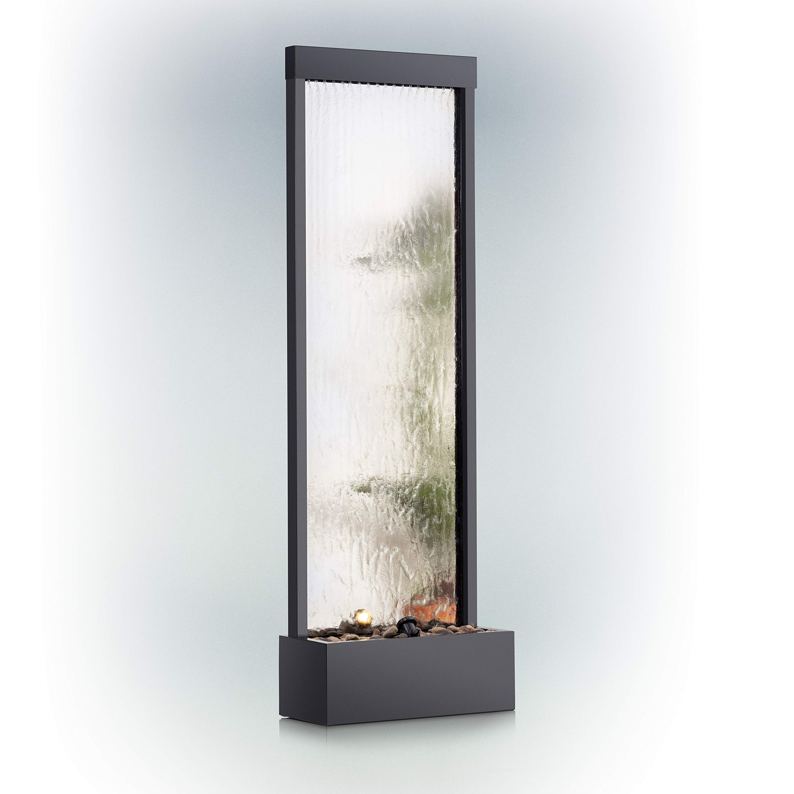Alpine Corporation Mirror Waterfall Fountain with Stones and Lights - Zen Indoor/Outdoor Decor for Office, Living Room, Patio, Entryway - 72 Inches by Alpine Corporation