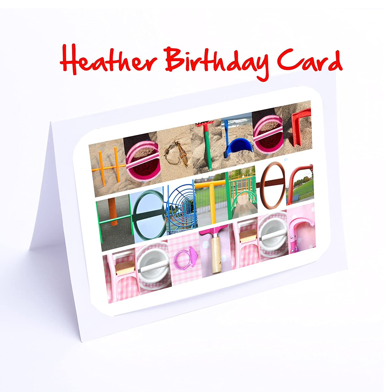 Girls Personalised Cards 7x5 Photo Birthday Card Or Greeting With FREE Delivery HEATHER Amazoncouk Kitchen Home