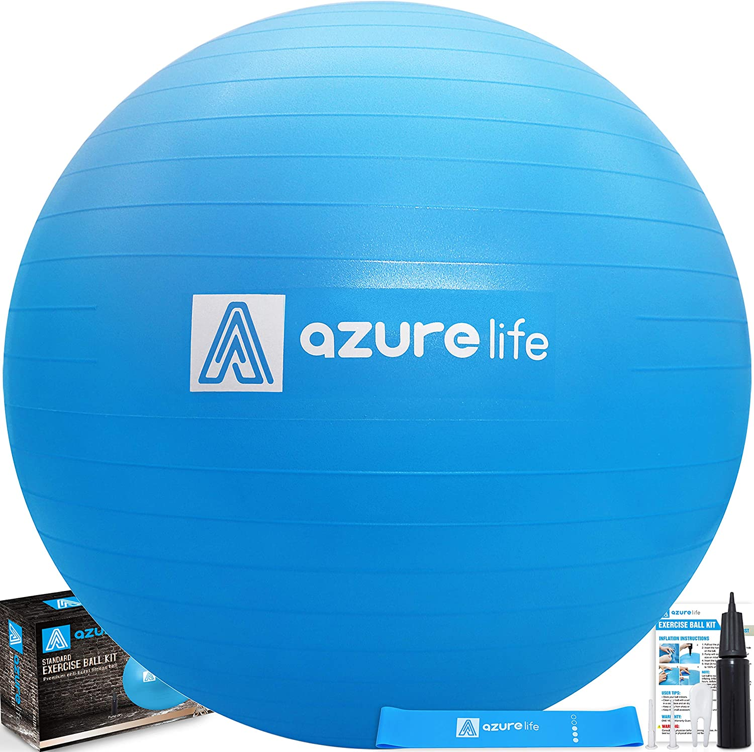 A AZURELIFE Professional Grade 58-65cm Exercise Ball, Anti-Burst Non-Slip Stability Balance Ball with Quick Pump Included, Perfect for Birthing, Yoga, Pilates Desk Chairs, Therapy