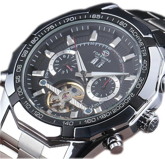 Forsining Tourbillon de acero inoxidable diseño reloj hombre automático esqueleto militar reloj mecánico