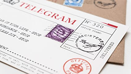 Birthday Telegram Letter Card Alternative Handcrafted In Uk Bday Cards For Him Or Her With Authentic