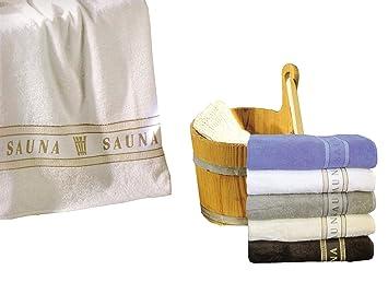 Toalla de sauna con Jaquard cenefa aprox. 70 x 180 cm, algodón, blanco, 70 x 180 cm: Amazon.es: Hogar