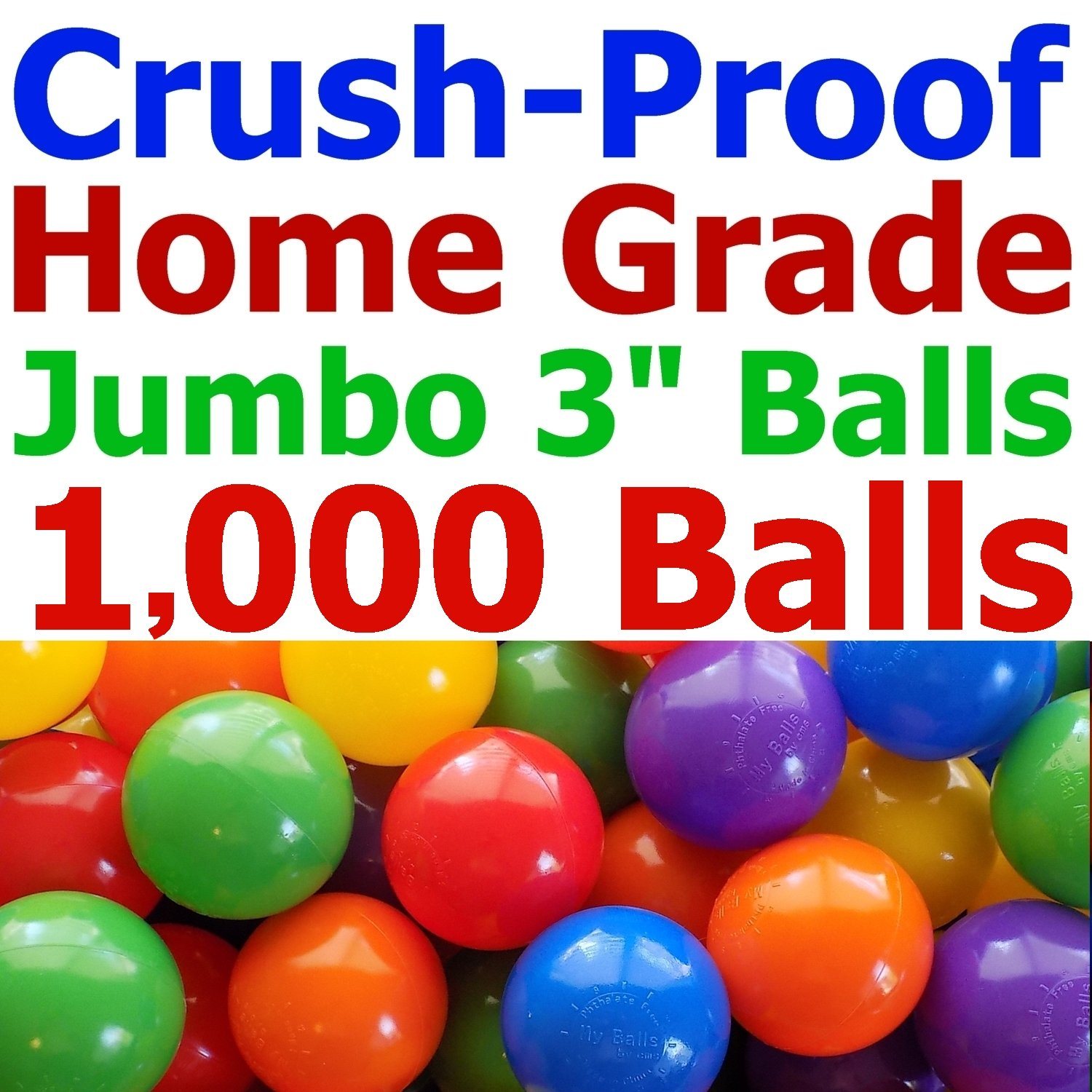 My Balls Pack of Jumbo 3'' Crush-Proof Ball Pit Balls - 5 Bright Colors, Phthalate Free, BPA Free, PVC Free, Non-Toxic, Non-Recycled Plastic by My Balls (Image #1)