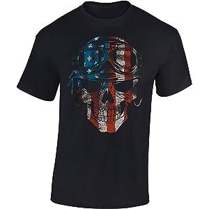 Rock-er Gothic Bike-r Black Metal Wikinger Viking-s Odin Totenkopf Axt Anker T-Shirt: Hades Crew Schwarz Werkstatt Kapit/än Seemann Skull Death Tod Bones Legend-e Gamer Shirt