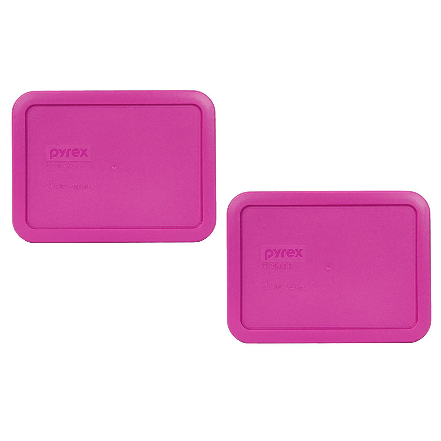 Pyrex 7210-PC 3 Cup Berry Pink Rectangle Plastic Food Storage Lid - 2 Pack