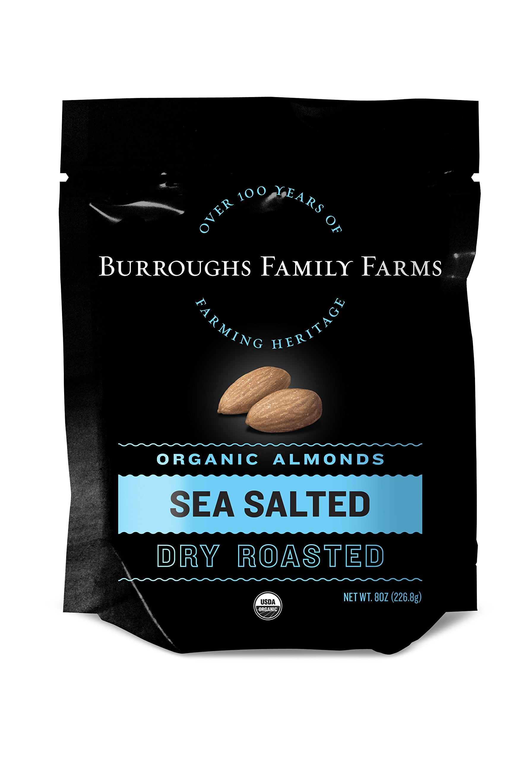 Sea Salted Dry Roasted Organic Almonds, 8oz