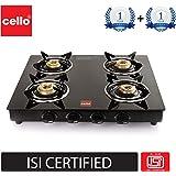 Cello Prima Gas Stove 4 Burner Glass Top, Black, ISI Certified