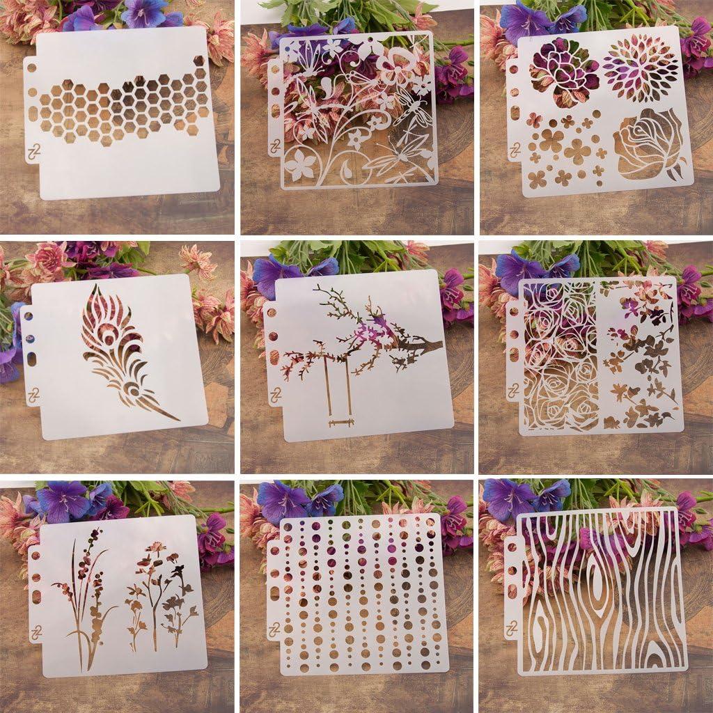 Utilisation au Mur ECMQS 9Pcs Drawing Airbrush DIY Painting Stencils Pochoirs lavables en Machine Creux pour Peindre des Panneaux de Bois Veranda Tissu et plaques USW