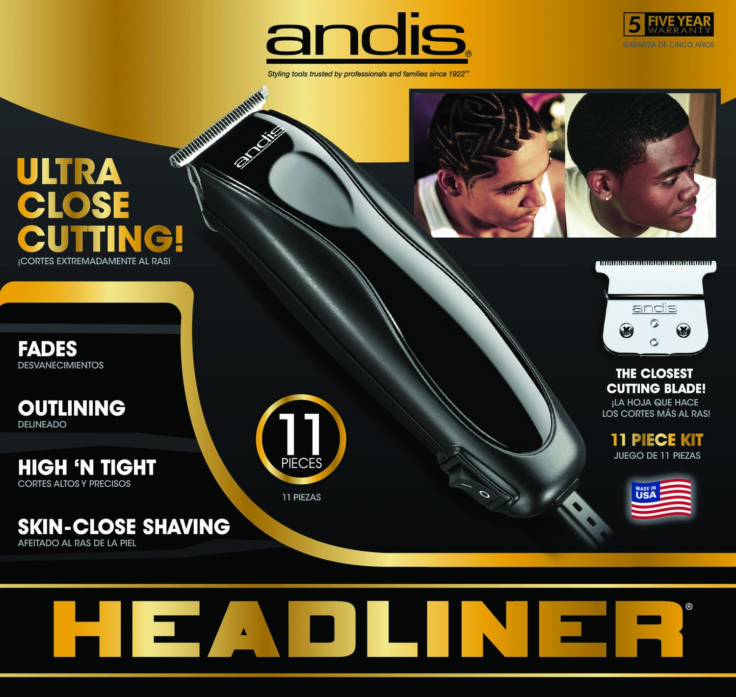 Andis Skin-Close Headliner 11-Piece Hair Clipper/Beard Trimmer Kit, Black, Model LS-2 (29775) by Andis (Image #3)